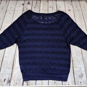 FANG Tops - Fang Navy Blue Metallic Knit Tunic